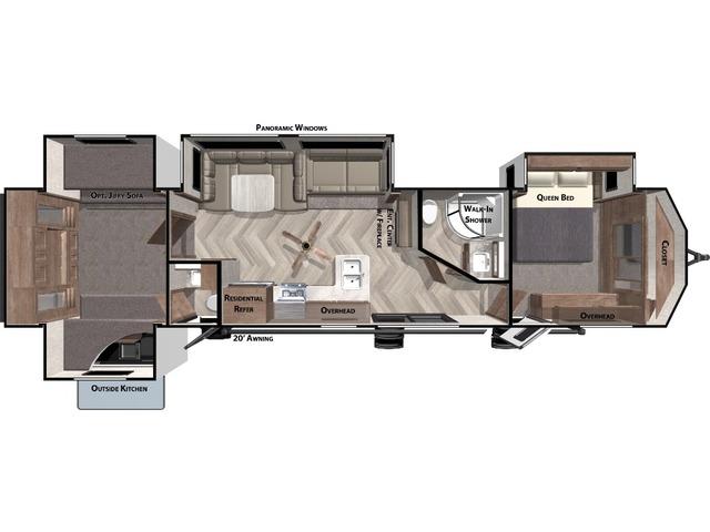 Salem Villa Park Trailer Model 42QBQ by Forest River Floorplan