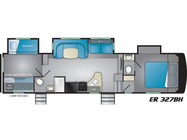 Elkridge Focus Fifth Wheel Model 327BH by Heartland Floorplan