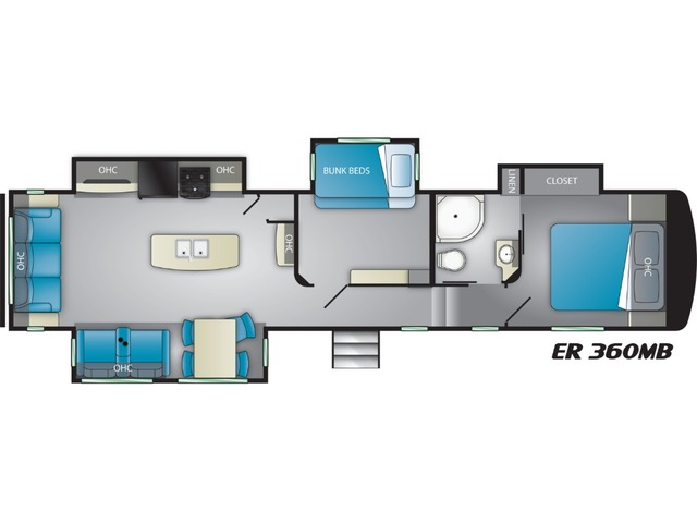 Elkridge Focus Fifth Wheel Model 360MB by Heartland Floorplan