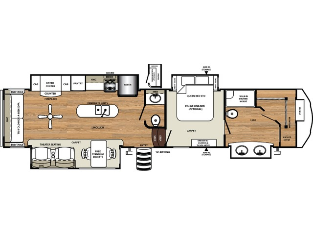 Sierra Fifth Wheel Model 368FBDS by Forest River Floorplan