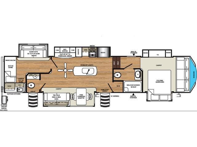 Sierra Fifth Wheel Model 382VIEW by Forest River Floorplan