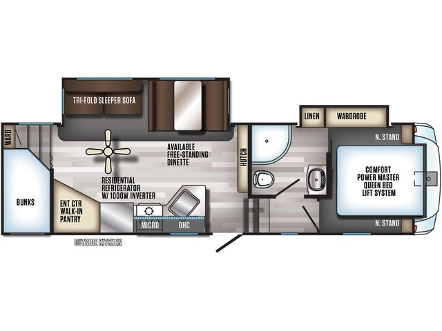 Arctic Wolf Fifth Wheel Model 265DBH8 by Forest River Floorplan