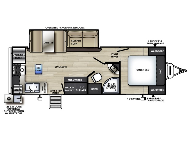 Vibe Travel Trailer Model 25RK by Forest River Floorplan