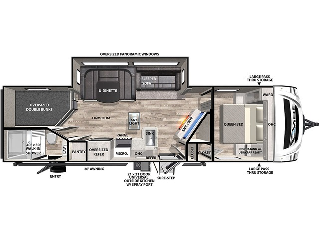 Vibe Travel Trailer Model 26BH by Forest River Floorplan
