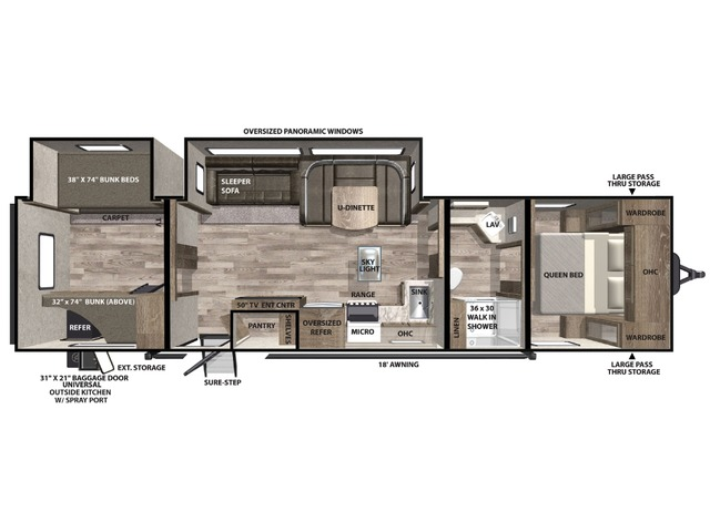 Vibe Travel Trailer Model 29BH by Forest River Floorplan