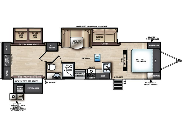 Vibe Travel Trailer Model 33BH by Forest River Floorplan