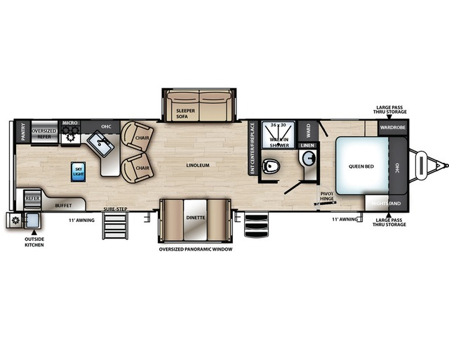 Vibe Travel Trailer Model 33RK by Forest River Floorplan