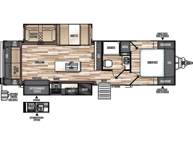 Hemisphere GLX Travel Trailer Model 273RL by Forest River Floorplan
