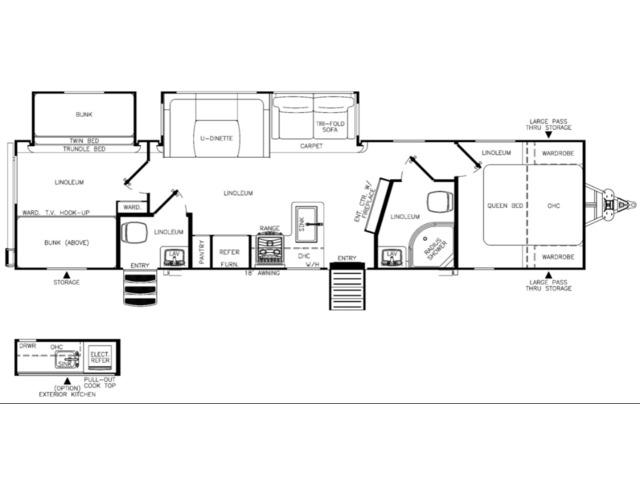 Hemisphere GLX Travel Trailer Model 314BUD by Forest River Floorplan