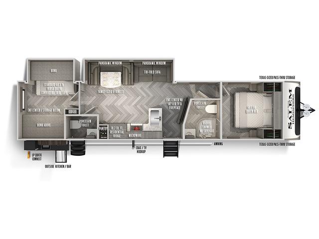 Hemisphere Travel Trailer Model 314BUD by Forest River Floorplan