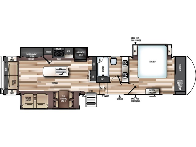 Hemisphere Elite Fifth Wheel Model 34RL by Forest River Floorplan