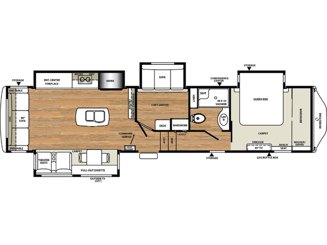 Riverstone Fifth Wheel Model 37REL by Forest River Floorplan