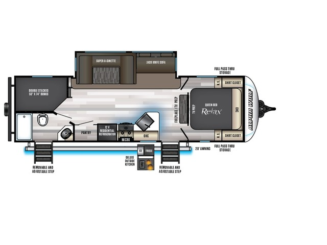Alpha Wolf Travel Trailer Model 26DBH-L by Forest River Floorplan