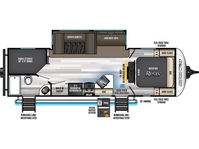 Alpha Wolf Travel Trailer Model 26DBH-L by Forest River Floorplan