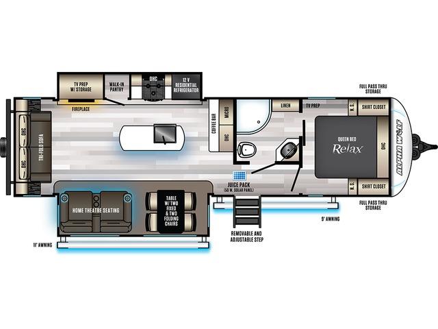 Alpha Wolf Travel Trailer Model 26RL-L by Forest River Floorplan