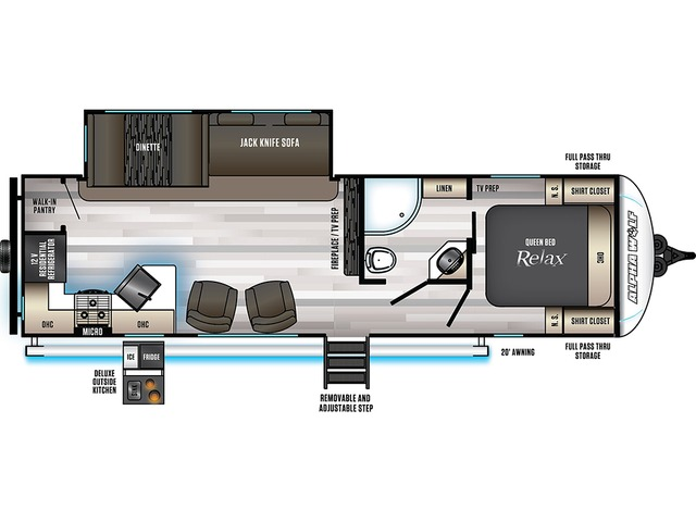 Alpha Wolf Travel Trailer Model 27RK-L by Forest River Floorplan