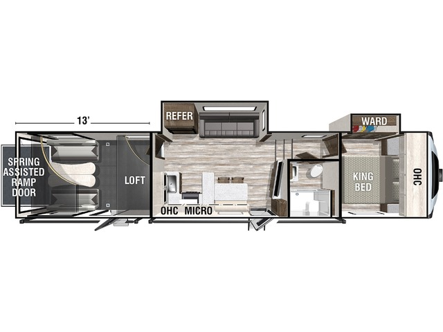 Nitro Toy Hauler (Fifth Wheel) Model 33DK5 by Forest River Floorplan