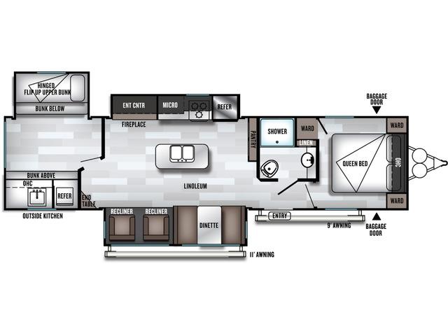 Salem Travel Trailer Model 32BHT by Forest River Floorplan