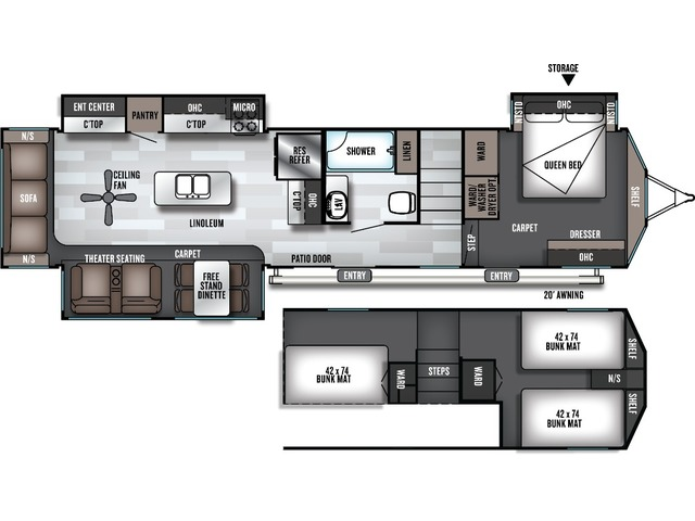 Salem Grand Villa Park Trailer Model 42DL by Forest River Floorplan