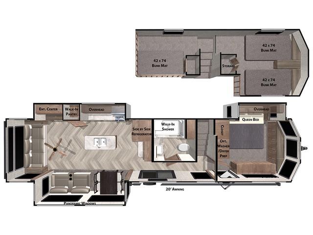 Salem Grand Villa Park Trailer Model 42DL by Forest River Floorplan