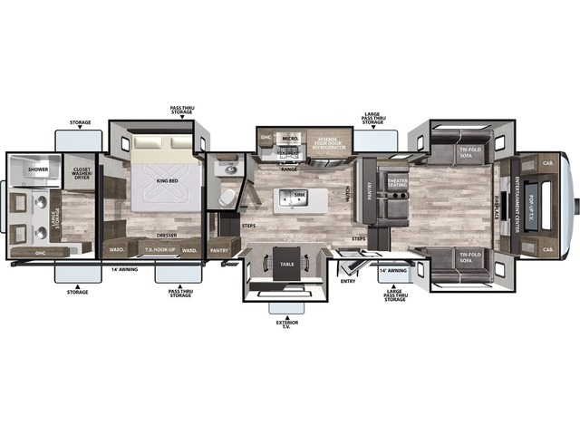 Cardinal Luxury Fifth Wheel Model 370FLX by Forest River Floorplan