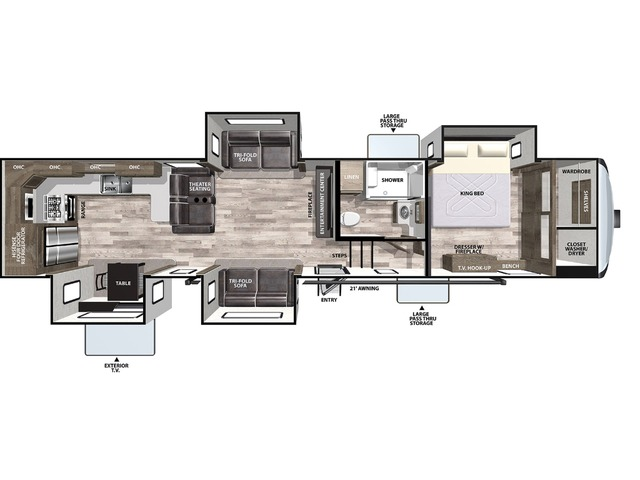 Cardinal Luxury Fifth Wheel Model 375BKX by Forest River Floorplan