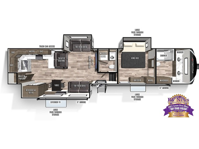 Cardinal Luxury Fifth Wheel Model 390FBX by Forest River Floorplan