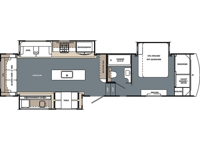 Cardinal Limited Fifth Wheel Model 322RLLE by Forest River Floorplan