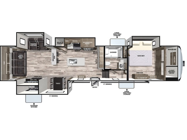 Cardinal Limited Fifth Wheel Model 388RDLE by Forest River Floorplan