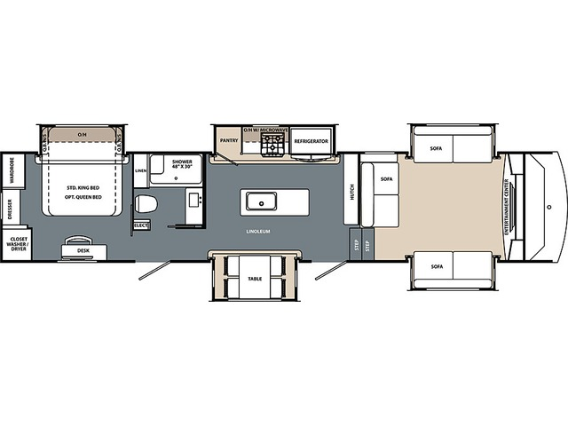 Cardinal Limited Fifth Wheel Model 3900FLLE by Forest River Floorplan