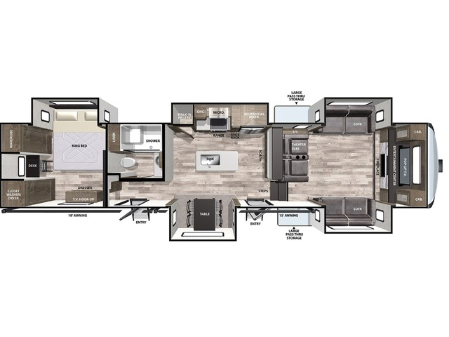 Cardinal Limited Fifth Wheel Model 399FLLE by Forest River Floorplan