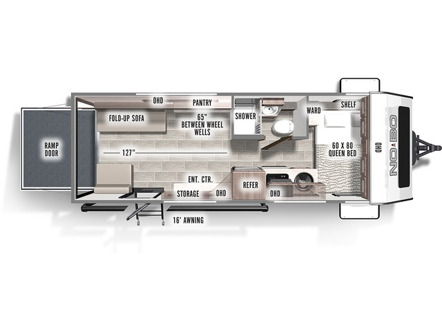 No Boundaries (NOBO) Travel Trailer Model NB19.1 by Forest River Floorplan