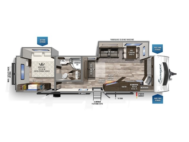 Surveyor Luxury Travel Trailer Model 33KFKDS by Forest River Floorplan