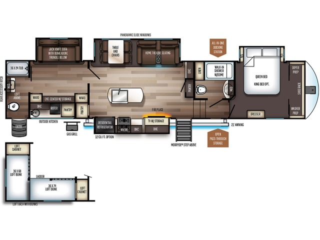 Sabre Fifth Wheel Model 38DBQ by Forest River Floorplan