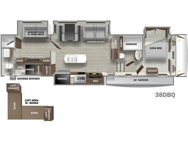Sabre Fifth Wheel Model 38DBQ by Forest River Floorplan