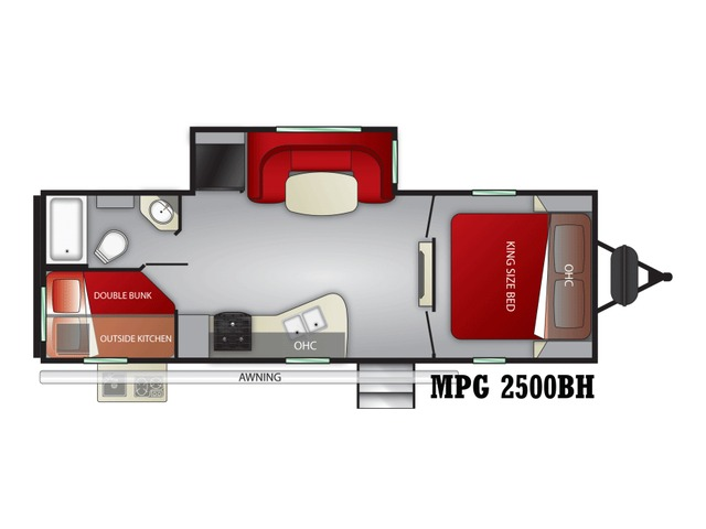 MPG Travel Trailer Model 2500BH by Cruiser RV Floorplan