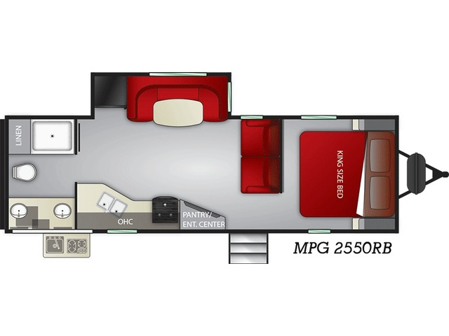 MPG Travel Trailer Model 2550RB by Cruiser RV Floorplan