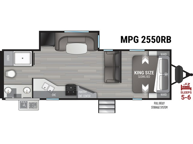 MPG Travel Trailer Model 2550RB by Cruiser RV Floorplan