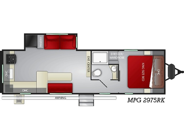 MPG Travel Trailer Model 2975RK by Cruiser RV Floorplan