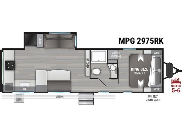 MPG Travel Trailer Model 2975RK by Cruiser RV Floorplan