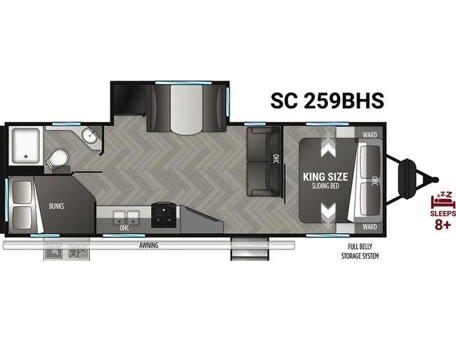 Shadow Cruiser Travel Trailer Model 259BHS by Cruiser RV Floorplan