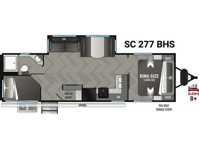 Shadow Cruiser Travel Trailer Model 277BHS by Cruiser RV Floorplan