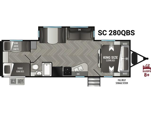 Shadow Cruiser Travel Trailer Model 280QBS by Cruiser RV Floorplan