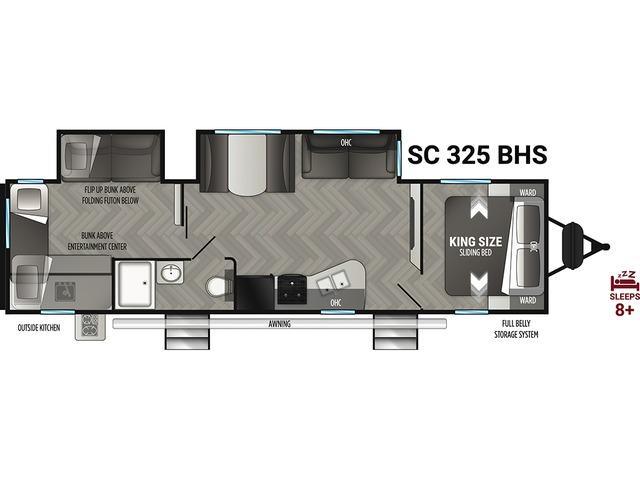 Shadow Cruiser Travel Trailer Model 325BHS by Cruiser RV Floorplan