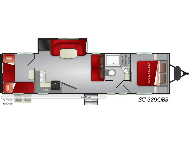Shadow Cruiser Travel Trailer Model 329QBS by Cruiser RV Floorplan