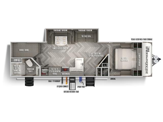 Hemisphere Hyper Lyte Travel Trailer Model 26BHHL by Forest River Floorplan
