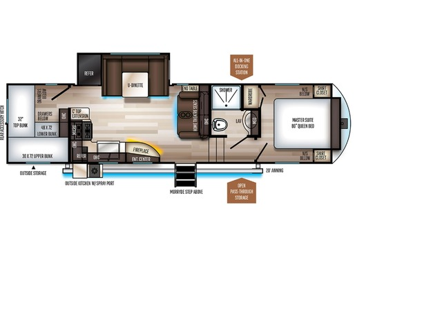 Sabre SS150 Fifth Wheel Model 301BH by Forest River Floorplan