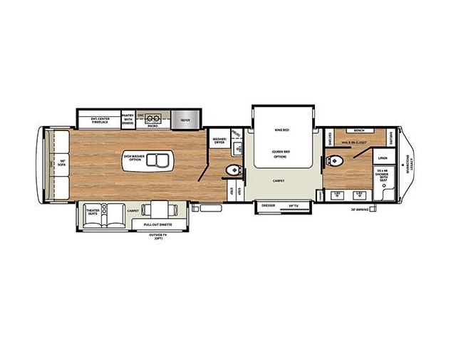Riverstone Fifth Wheel Model 381FB by Forest River Floorplan