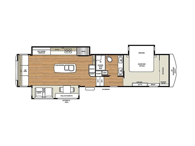 Riverstone Fifth Wheel Model 383MB by Forest River Floorplan