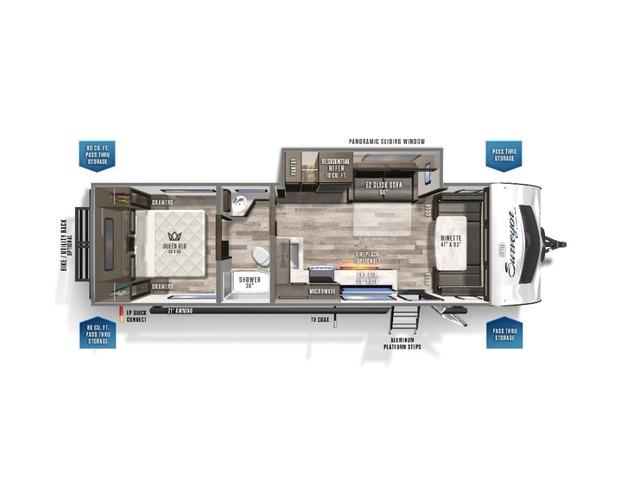 Surveyor Luxury Travel Trailer Model 272FLS by Forest River Floorplan